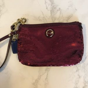 Coach Red Sequin Wristlet